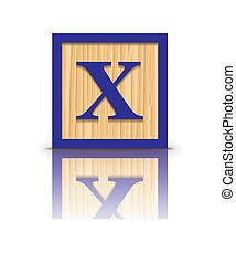 houten, x, vector, brief, blok