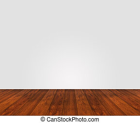 houtenvloer, met, witte muur