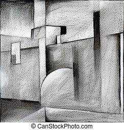 houtskool, abstractie
