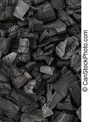 houtskool, bovenzijde, textuur, achtergrond., black , close-up., overzicht.