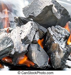 houtskool, burning