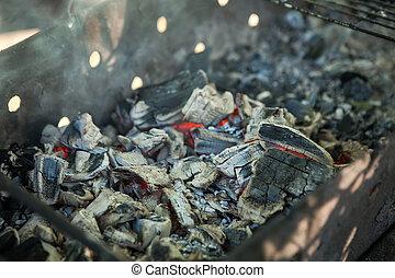 houtskool, close-up, achtergrond, gloeiend, textuur, warme, briquettes