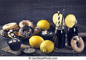 houtskool, limonade, met, citroenen