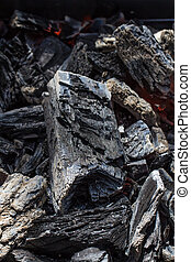 houtskool, op, textuur, gloeiend, zwarte achtergrond, afsluiten