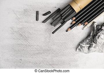 houtskool, schilderend materiaal