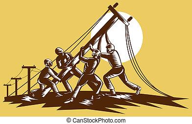 houtsnee, elektriciteit, linemen, reteo, op, gedaan, team,...