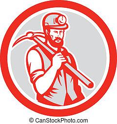 houtsnee, plukken, mijnwerker, steenkool, vasthouden, bijl, hardhat, cirkel