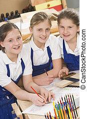 houtwerk, stand, schoolgirls