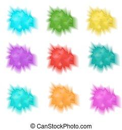 houx, réaliste, eclabousse, illustration, multicolore, isolé, cloud., ensemble, collection, vecteur, arrière-plan., poudre, paint., blanc