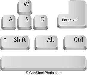 hoved, buttons., klaviatur