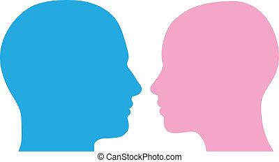 hoveder, kvinde, silhuet, mand
