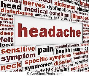 hovedpine, medicinsk, plakat, konstruktion