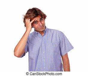 hovedpine, pæn, mand, unge, trætt