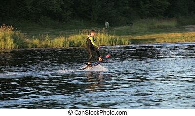 Hover board rider.Fly board rider. - Young man falls into...