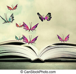 Hover in the Sky - Artistic image of an open book and...