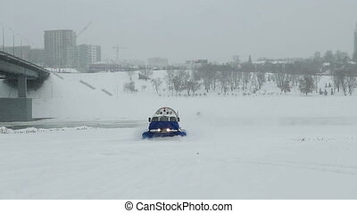 Hovercraft boat snow