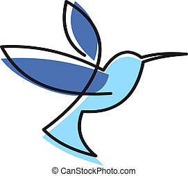 Hovering blue hummingbird - Stylized blue hovering...