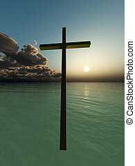 Hovering Cross Over The Sea