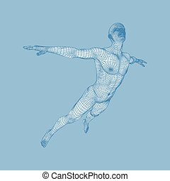 Hovering in Air. Man Floating in the Air. 3D Model of Man....