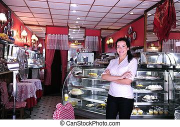 hovmodige, tillidsfuld, pastry, ejer, lille, butik