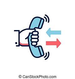 hovor, obránce, -, moderní, vektor, řádka, design, svobodný, icon.