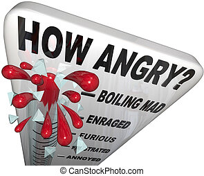 A thermometer measuring your anger level, with mercury rising past the words Annoyed, Frustrated, Furious, Enraged to Boiling Mad