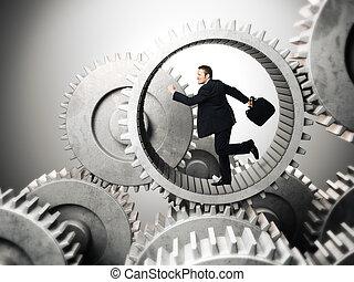 businessman running inside of metal gear