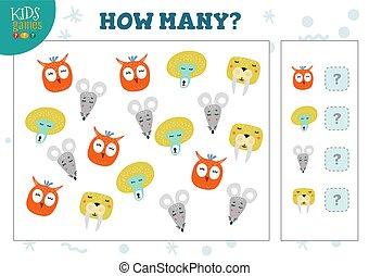 How many animals kids development activity vector illustration