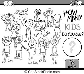 how many children coloring book - Black and White Cartoon...