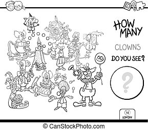 how many clowns game coloring book - Black and White Cartoon...
