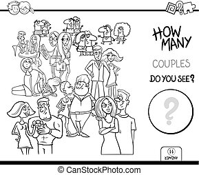 how many couples game coloring book - Black and White...
