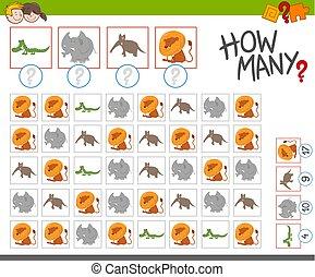 how many dogs activity - Cartoon Illustration of Educational...