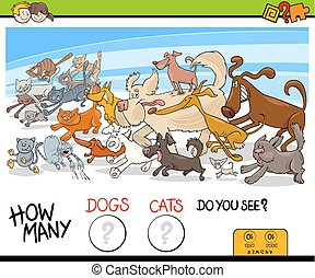 how many dogs and cats activity game - Cartoon Illustration...