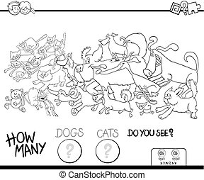how many dogs and cats color book - Black and White Cartoon...