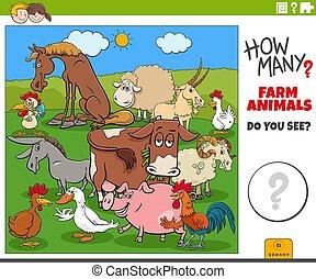 how many farm animals educational cartoon task for children