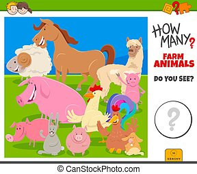 how many farm animals educational game for children