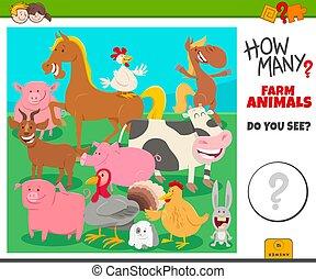 how many farm animals educational task for children