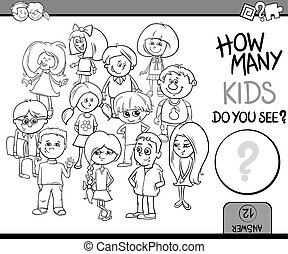 how many kids coloring book - Black and White Cartoon...