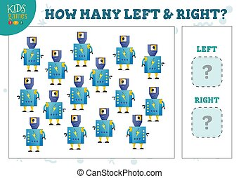 How many left and right cartoon robot characters counting ...