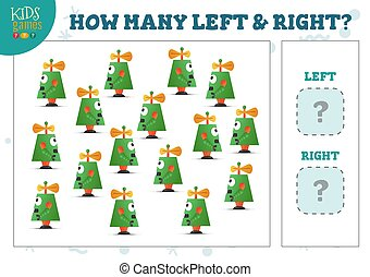 How many left and right cartoon robots kids counting game ...