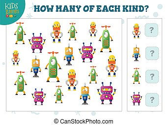 How many of each kind cartoon robot counting game for kids ...