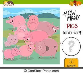 how many pigs game - Cartoon Illustration of Educational...