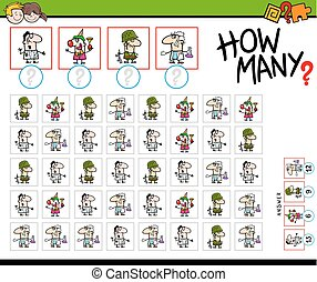 Cartoon Illustration of Educational How Many Counting Activity for Children with Professionals