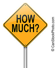 How much concept. - Illustration depicting a roadsign with...
