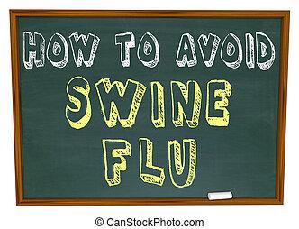 How to Avoid Swine Flu - Words on Chalkboard - The words How...