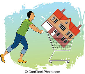 Young man pushing a shopping cart with a house in it
