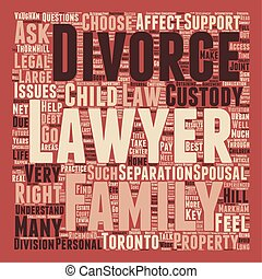 How To Choose A Divorce Lawyer In Toronto text background wordcloud concept