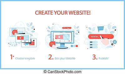 How to create a website instruction. Web banner concept