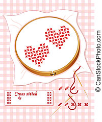 Two red hearts, wooden embroidery hoop, cross stitch how to, gold needle, thread, sewing label with copy space, pastel gingham background.