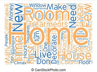 How To Decorate A new Home text background word cloud...